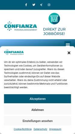 Vorschau der mobilen Webseite www.confianza-personal.de, CONFIANZA GmbH