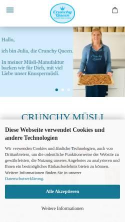 Vorschau der mobilen Webseite www.crunchyqueen.de, Crunchy Queen - handgemachtes Knuspermüsli