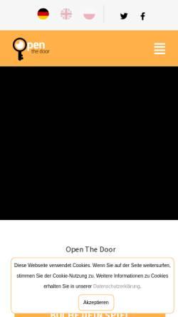 Vorschau der mobilen Webseite www.openthedoor.at, Room escape Wien