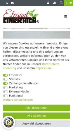 Vorschau der mobilen Webseite www.eleganteinrichten.de, Eleganteinrichten - Pflanzkübel vom Hersteller