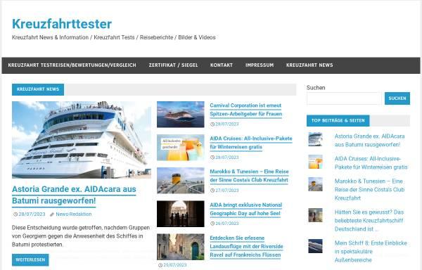 Vorschau von kreuzfahrttester.com, Der Kreuzfahrttester