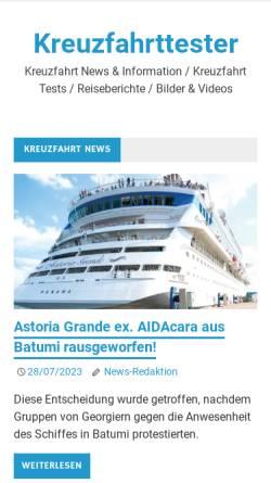Vorschau der mobilen Webseite kreuzfahrttester.com, Der Kreuzfahrttester