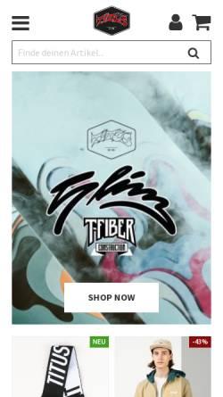 Vorschau der mobilen Webseite titus.de, Titus - Home of Skateboarding