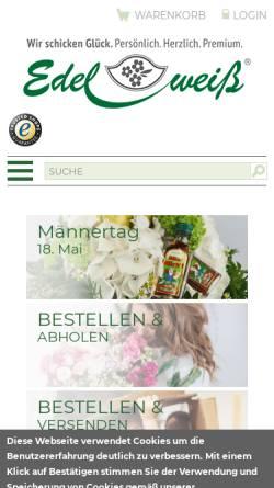 Vorschau der mobilen Webseite www.blumenversand-edelweiss.de, Blumenversand Edelweiß