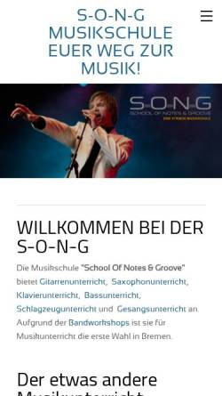 Vorschau der mobilen Webseite www.s-o-n-g.de, School Of Notes & Groove Bremen