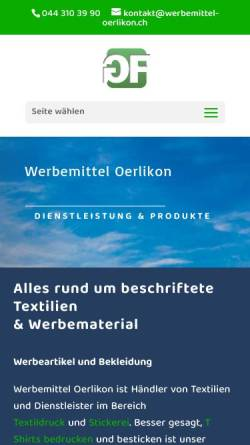 Vorschau der mobilen Webseite www.werbemittel-oerlikon.ch, Werbemittel-Oerlikon/Green Fara GmbH