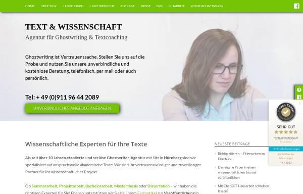 Vorschau von www.textundwissenschaft.de, TEXT & WISSENSCHAFT