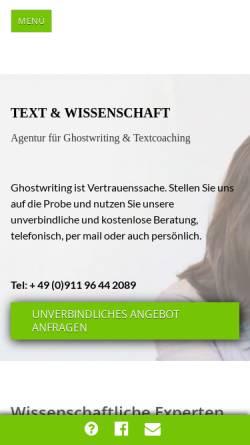 Vorschau der mobilen Webseite www.textundwissenschaft.de, TEXT & WISSENSCHAFT