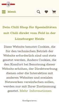 Vorschau der mobilen Webseite die-chili-manufaktur.de, Chilli Manufaktur Soltau