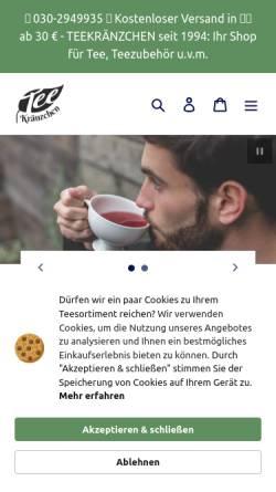 Vorschau der mobilen Webseite teekraenzchen.eu, Teekränzchen - Ihr freundlicher Teefachhändler in Berlin