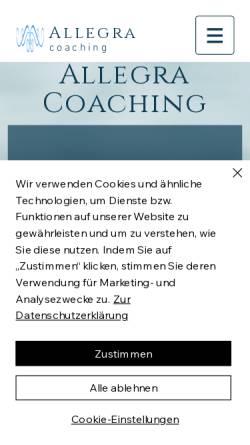 Vorschau der mobilen Webseite www.allegra-coaching.com, Allegra Coaching