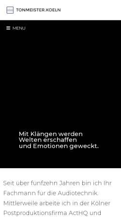 Vorschau der mobilen Webseite tonmeister.koeln, TONMEISTER.KOELN • Tonstudio für Postproduktion