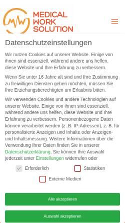 Vorschau der mobilen Webseite www.medical-work-solution.com, Medical Work Solution GmbH