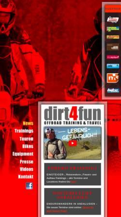 Vorschau der mobilen Webseite dirt4fun.de, dirt4fun Offroad Training & Travel