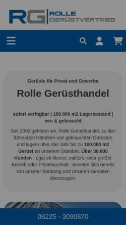 Vorschau der mobilen Webseite www.rolle-gerueste.de, Rolle Gerüstvertrieb e. K