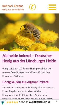 Vorschau der mobilen Webseite www.imkerei-ahrens.de, Imkerei Ahrens