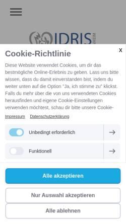Vorschau der mobilen Webseite www.idris-apotheke-weinheim.de, Idris Apotheke in Weinheim