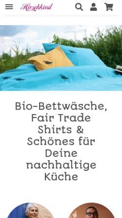 Vorschau der mobilen Webseite www.hirschkind.de, Hirschkind - Mode für Stadt, Land, Bett