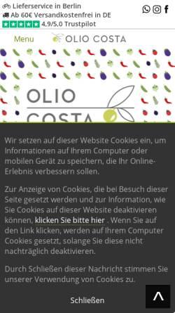 Vorschau der mobilen Webseite olio-costa.de, Olio Costa