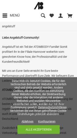 Vorschau der mobilen Webseite www.angelstuff.de, ANGELSTUFF nutrition concept