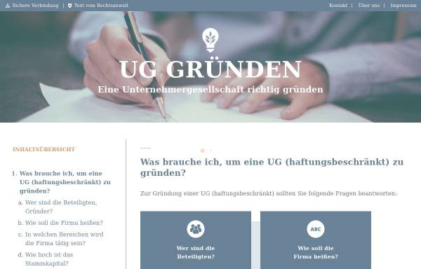 Vorschau von www.ug-gruenden.info, UG Gründen