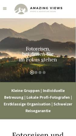 Vorschau der mobilen Webseite amazingviews.ch, Amazing Views Photo & Adventure Tours GmbH