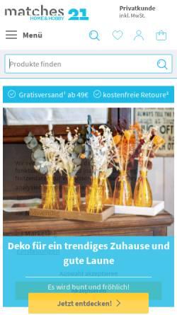 Vorschau der mobilen Webseite www.matches21.de, matches21 GmbH