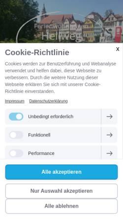 Vorschau der mobilen Webseite www.ferienwohnungen-tübingen-hellweg.de, Ferienwohnungen Hellweg