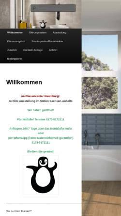 Vorschau der mobilen Webseite www.fliesen-naumburg.de, Fliesencenter Naumburg GmbH