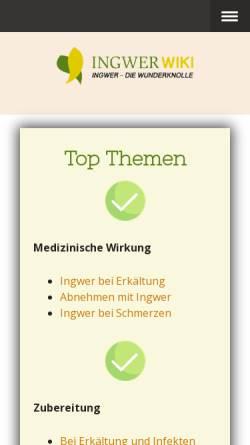 Vorschau der mobilen Webseite www.ingwer-wiki.de, Ingwer-Wiki