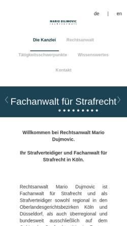 Vorschau der mobilen Webseite www.mariodujmovic.de, Kanzlei Mario Dujmovic