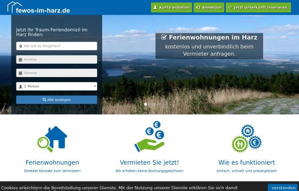 Vorschau von www.fewos-im-harz.de, Ferienwohnungen & Ferienhäuser im Harz