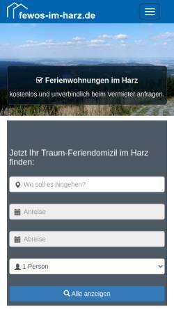 Vorschau der mobilen Webseite www.fewos-im-harz.de, Ferienwohnungen & Ferienhäuser im Harz