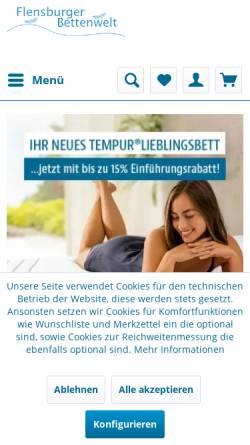 Vorschau der mobilen Webseite www.flensburger-bettenwelt.de, Flensburger Bettenwelt