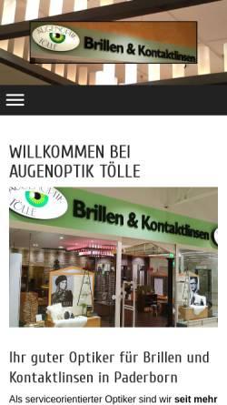 Vorschau der mobilen Webseite www.augenoptik-toelle.de, Augenoptik Tölle
