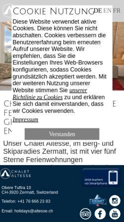 Vorschau der mobilen Webseite www.altesse.ch, Chalet Altesse