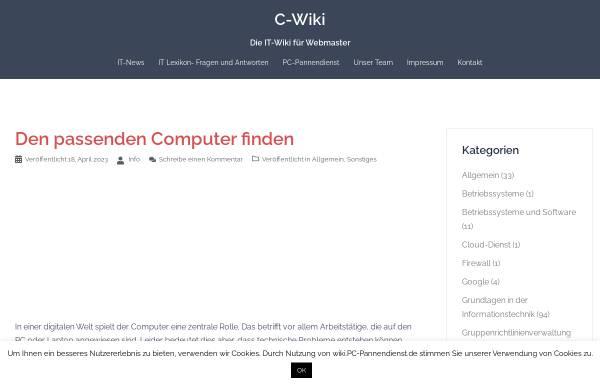 Vorschau von wiki.pc-pannendienst.de, C-Wiki - Die IT-Wiki für Webmaster