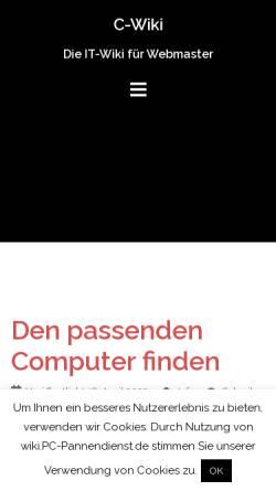 Vorschau der mobilen Webseite wiki.pc-pannendienst.de, C-Wiki - Die IT-Wiki für Webmaster
