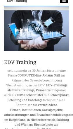Vorschau der mobilen Webseite www.edvtraining.at, COMPUTER-line Johann Grill
