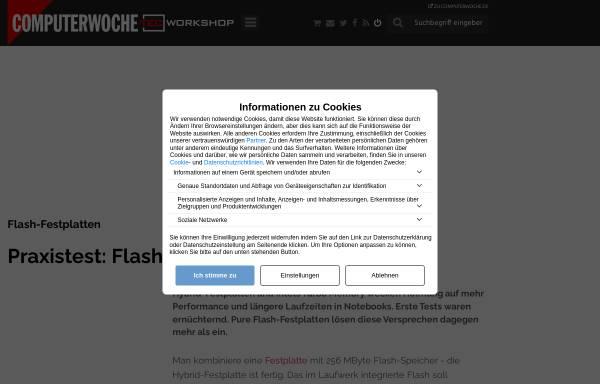 Vorschau von www.tecchannel.de, Flash SSD statt Festplatte