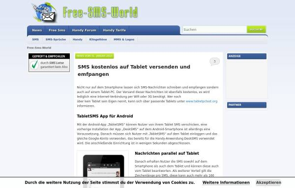 Vorschau von www.free-sms-world.de, Free-SMS-World
