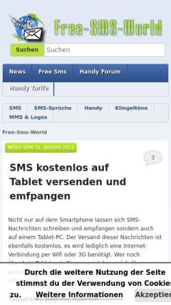 Vorschau der mobilen Webseite www.free-sms-world.de, Free-SMS-World