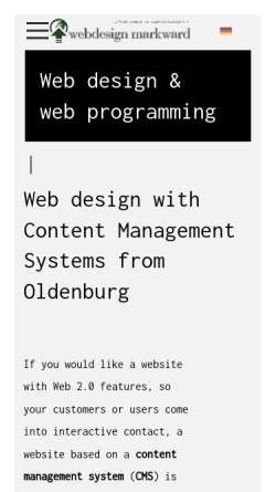 Vorschau der mobilen Webseite www.webdesign-markward.de, Webdesign Markward