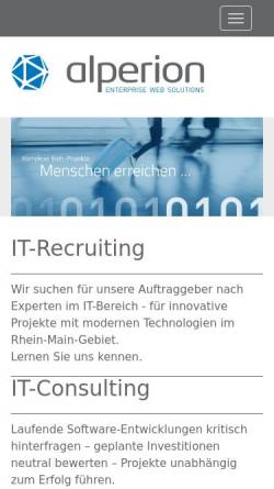 Vorschau der mobilen Webseite www.alperion.de, Alperion Software GmbH
