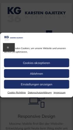 Vorschau der mobilen Webseite www.gajetzky.de, Karsten Gajetzky Webdesign