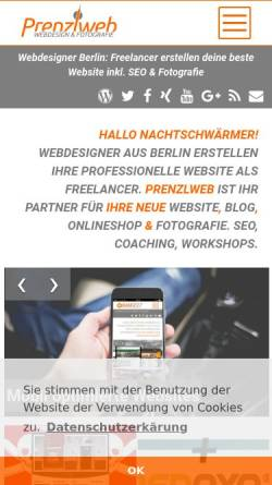 Vorschau der mobilen Webseite www.prenzlweb.de, Rs Webregie, Ralf Schlott