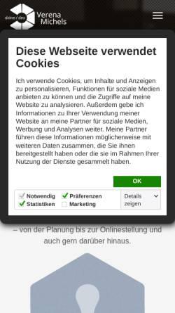 Vorschau der mobilen Webseite www.verena-michels.de, Freelancer Webdesign, Verena Michels