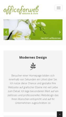 Vorschau der mobilen Webseite www.officeforweb.de, Officeforweb, Peggy Glowatsch