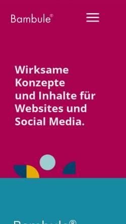 Vorschau der mobilen Webseite bambule.de, Bambule Webdesign, Michael Stein