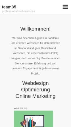 Vorschau der mobilen Webseite www.team35.de, Team 35, Andreas Herrmann
